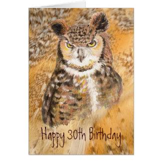 Trigésimo cumpleaños del personalizado, búho salva tarjeta de felicitación