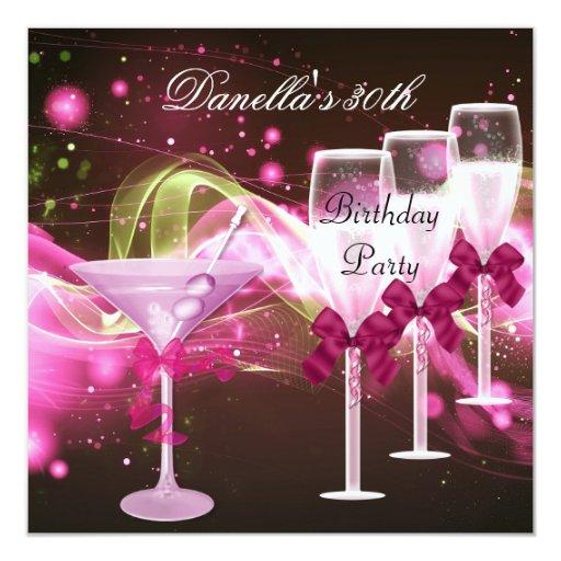 """trigésimo Cumpleaños Martini rosado Champán Invitación 5.25"""" X 5.25"""""""