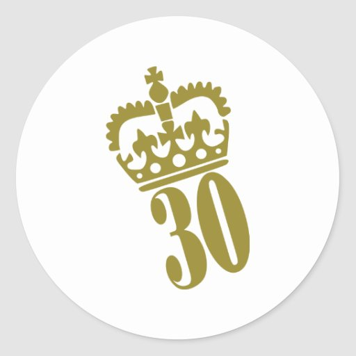 trigésimo cumpleaños - número - treinta pegatina redonda