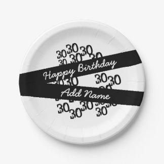 Trigésimo cumpleaños personalizado del blanco plato de papel 17,78 cm