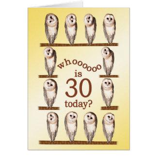 trigésimo cumpleaños, tarjeta curiosa de los búhos