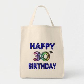 Trigésimo diseño feliz del cumpleaños en fuente de bolsa tela para la compra