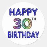 Trigésimo diseño feliz del cumpleaños en fuente etiqueta redonda