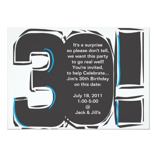 """trigésimo El cumpleaños simple invita Invitación 5"""" X 7"""""""