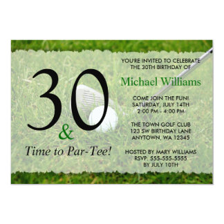 """trigésimo Fiesta de cumpleaños del golf Invitación 5"""" X 7"""""""
