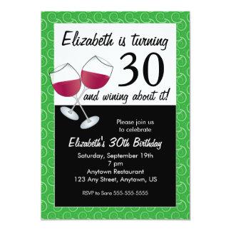 """Trigésimo fiesta divertido del vino del cumpleaños invitación 5"""" x 7"""""""