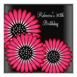 trigésimo Flores rosadas negras elegantes de la Invitación 13,3 Cm X 13,3cm