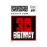 trigésimo Grunge blanco negro rojo del cumpleaños Franqueo