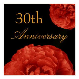 trigésimo Invitación del aniversario - rosas ROJOS