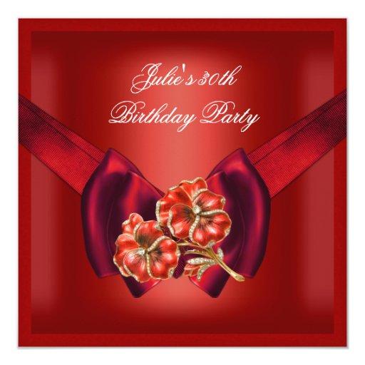 trigésimo Joya roja real de la flor de la fiesta Invitación 13,3 Cm X 13,3cm