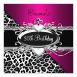 trigésimo Leopardo blanco negro rosado de plata Invitaciones Personalizada