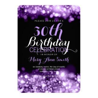 "trigésimo Luces chispeantes púrpuras de la fiesta Invitación 5"" X 7"""