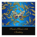 trigésimo Mariposa elegante del negro azul del oro Anuncio Personalizado