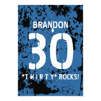 """trigésimo Modelo AZUL F3Z del Grunge de las rocas Invitación 5"""" X 7"""""""