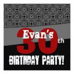 trigésimo Modelo blanco y negro del cumpleaños Invitación 13,3 Cm X 13,3cm