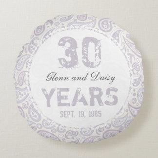 trigésimo Modelo de Paisley del aniversario de Cojín Redondo