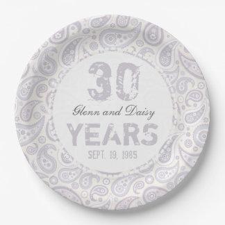 trigésimo Modelo de Paisley del aniversario de Platos De Papel