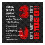 trigésimo Negro moderno B321 rojo del cumpleaños Invitaciones Personales