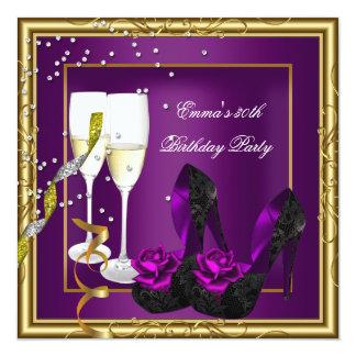 """trigésimo Negro púrpura del oro del ciruelo de la Invitación 5.25"""" X 5.25"""""""