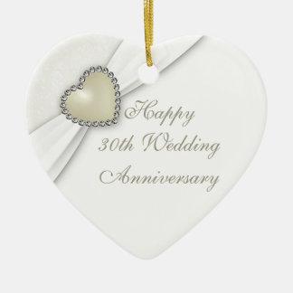 Trigésimo ornamento del corazón del aniversario de adorno de cerámica en forma de corazón