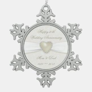 Trigésimo ornamento del estaño del aniversario de adorno de peltre en forma de copo de nieve