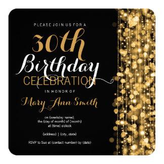 Trigésimo oro elegante de las chispas de la fiesta invitación 13,3 cm x 13,3cm