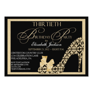 Trigésimo oro elegante y invitación negra del