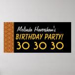 trigésimo Oro y colección negra del cumpleaños Poster