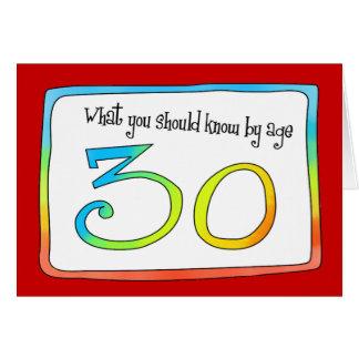 trigésimo Palabras del cumpleaños de la sabiduría Tarjeta De Felicitación
