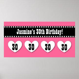 trigésimo Personalizado negro rosado V10 de la Póster