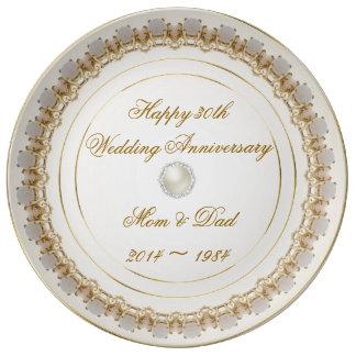 trigésimo Placa de la porcelana del aniversario de Platos De Cerámica