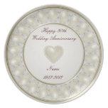 trigésimo Placa del aniversario de boda Plato De Comida