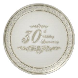 trigésimo Placa del aniversario de boda Plato De Cena