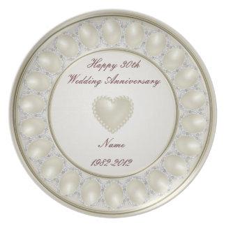 trigésimo Placa del aniversario de boda Platos