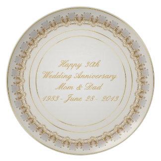 trigésimo Placa del aniversario de boda Platos De Comidas