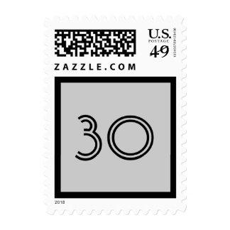 trigésimo Plantilla colorida del número rayado del Sellos Postales