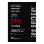 trigésimo Plantilla roja blanca del negro moderno Invitación 12,7 X 17,8 Cm