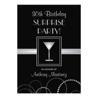 trigésimo Plata y negro del fiesta de sorpresa del