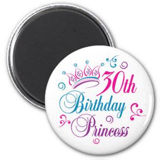 trigésimo Princesa del cumpleaños Imán De Frigorífico