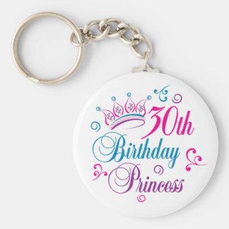 trigésimo Princesa del cumpleaños Llavero Redondo Tipo Pin