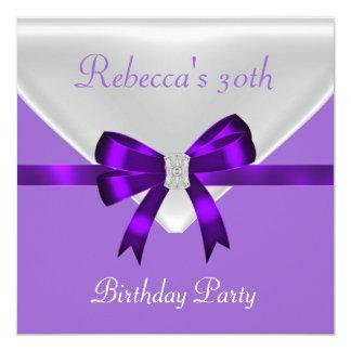 """trigésimo Púrpura blanca 2 del arco de la joya de Invitación 5.25"""" X 5.25"""""""