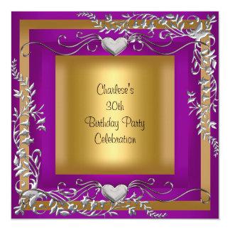 """trigésimo Púrpura del ciruelo de la plata del oro Invitación 5.25"""" X 5.25"""""""