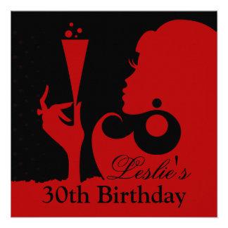 trigésimo Rojo del cóctel del cumpleaños Anuncio