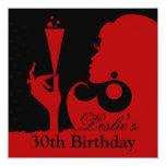 trigésimo Rojo del cóctel del cumpleaños Invitación 13,3 Cm X 13,3cm