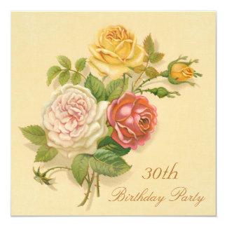 """trigésimo Rosas elegantes del vintage de la fiesta Invitación 5.25"""" X 5.25"""""""