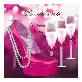 trigésimo Talones rosados Champán 2 de los zapatos Invitaciones Personales