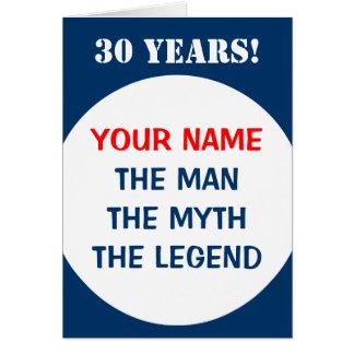 trigésimo Tarjeta de cumpleaños para los hombres e