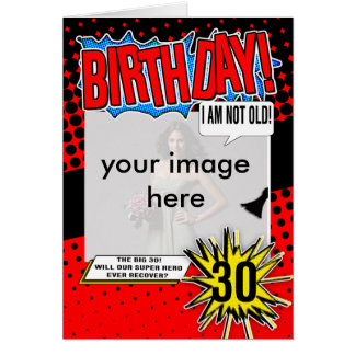 trigésimo Tarjeta de cumpleaños - super héroe