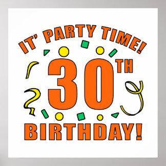 trigésimo Tiempo de la fiesta de cumpleaños Póster