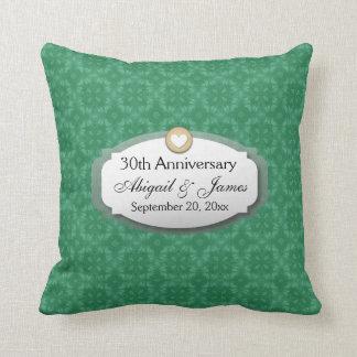 trigésimo Verde Z08 del aniversario de boda del Cojín